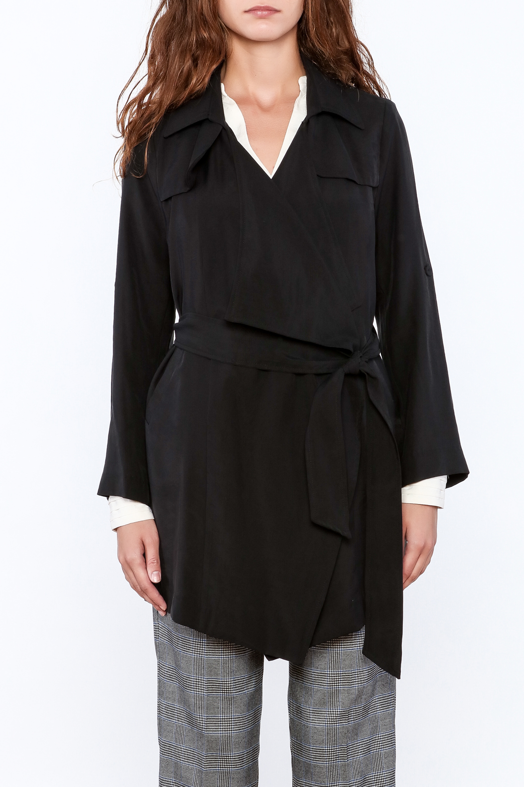 Pinkyotto Black Loose Trench Coat - Front Cropped Image