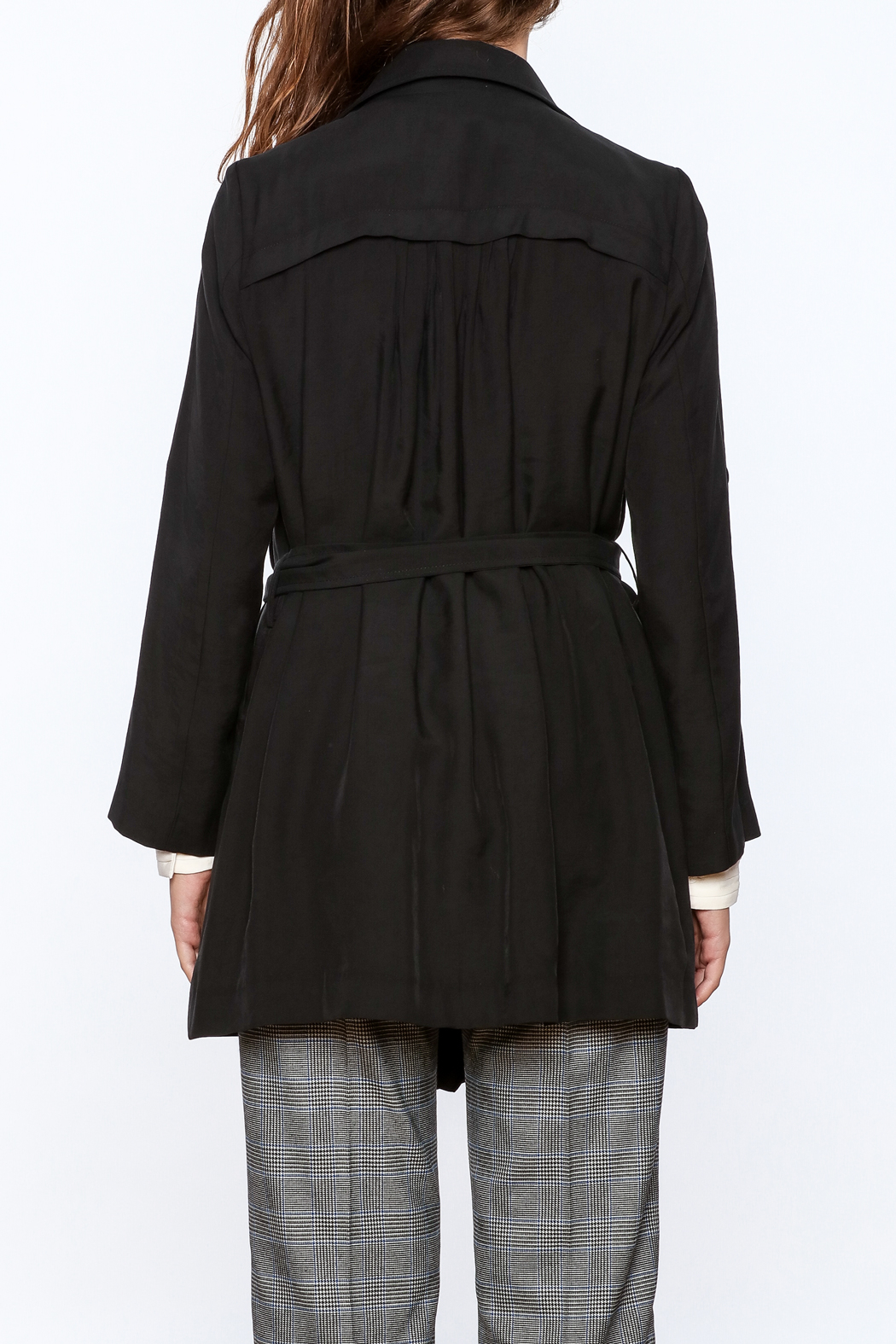 Pinkyotto Black Loose Trench Coat - Back Cropped Image