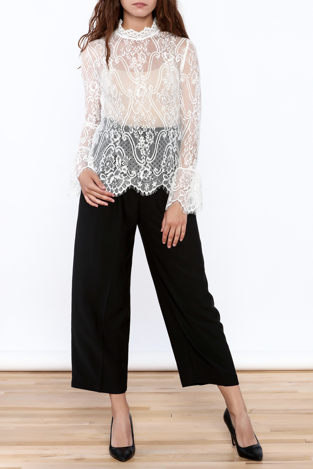Pinkyotto Sheer Lace Top - Side Cropped Image