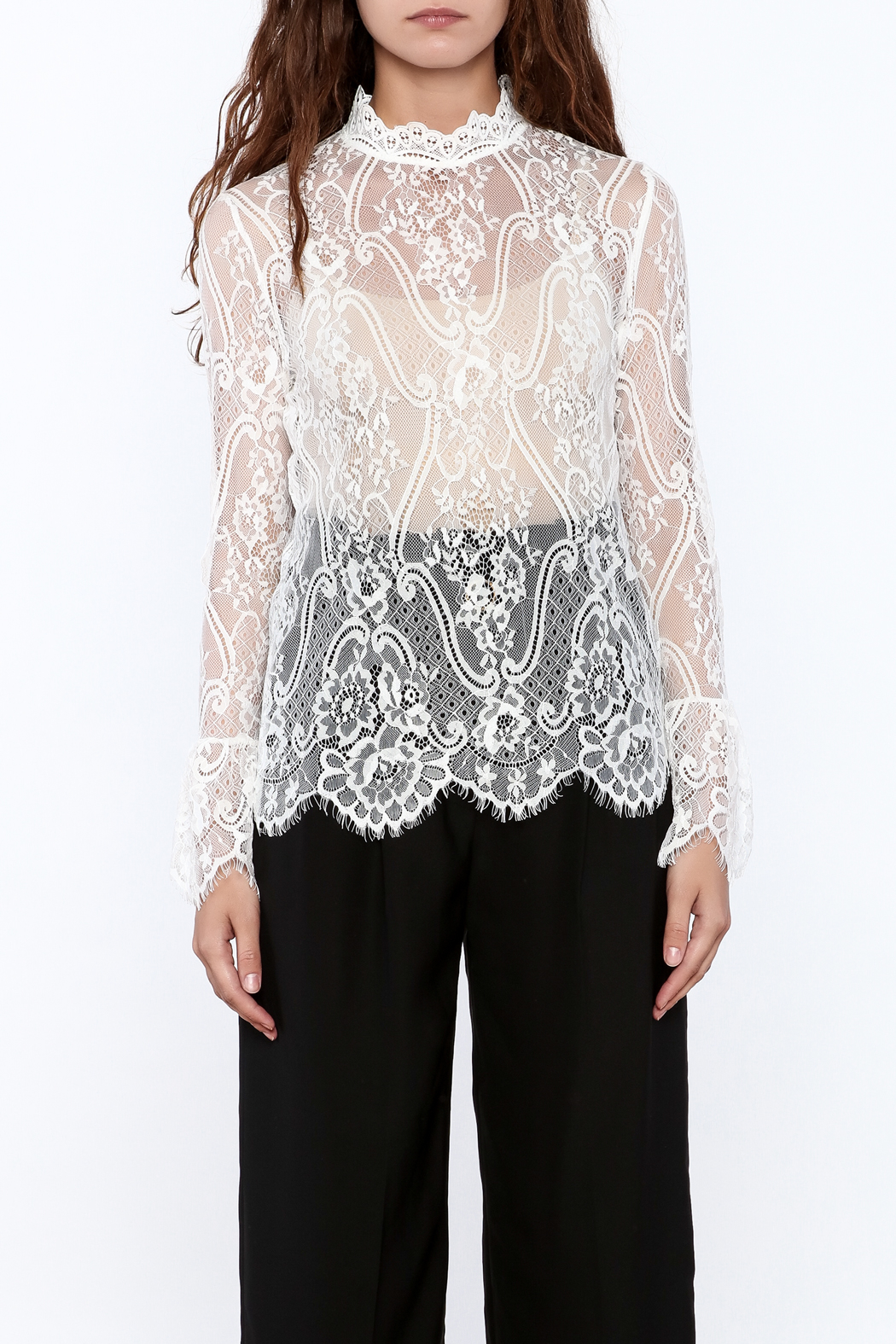 Pinkyotto Sheer Lace Top - Front Full Image