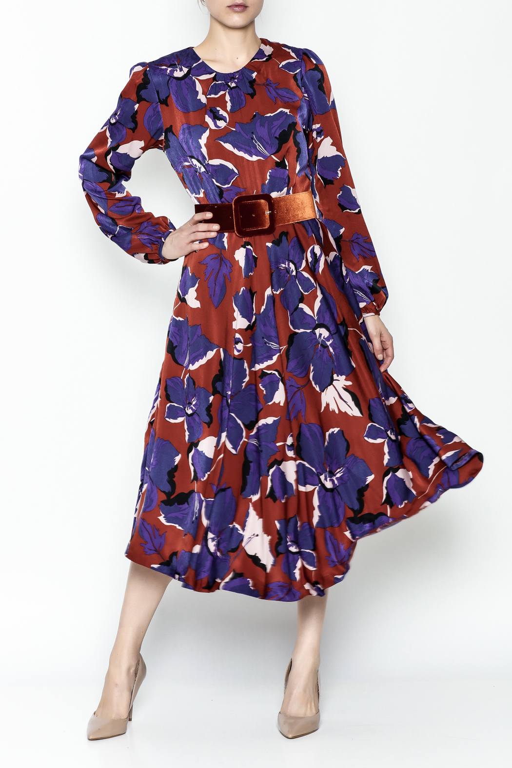 Pinkyotto Long Sleeve Midi Dress - Front Cropped Image