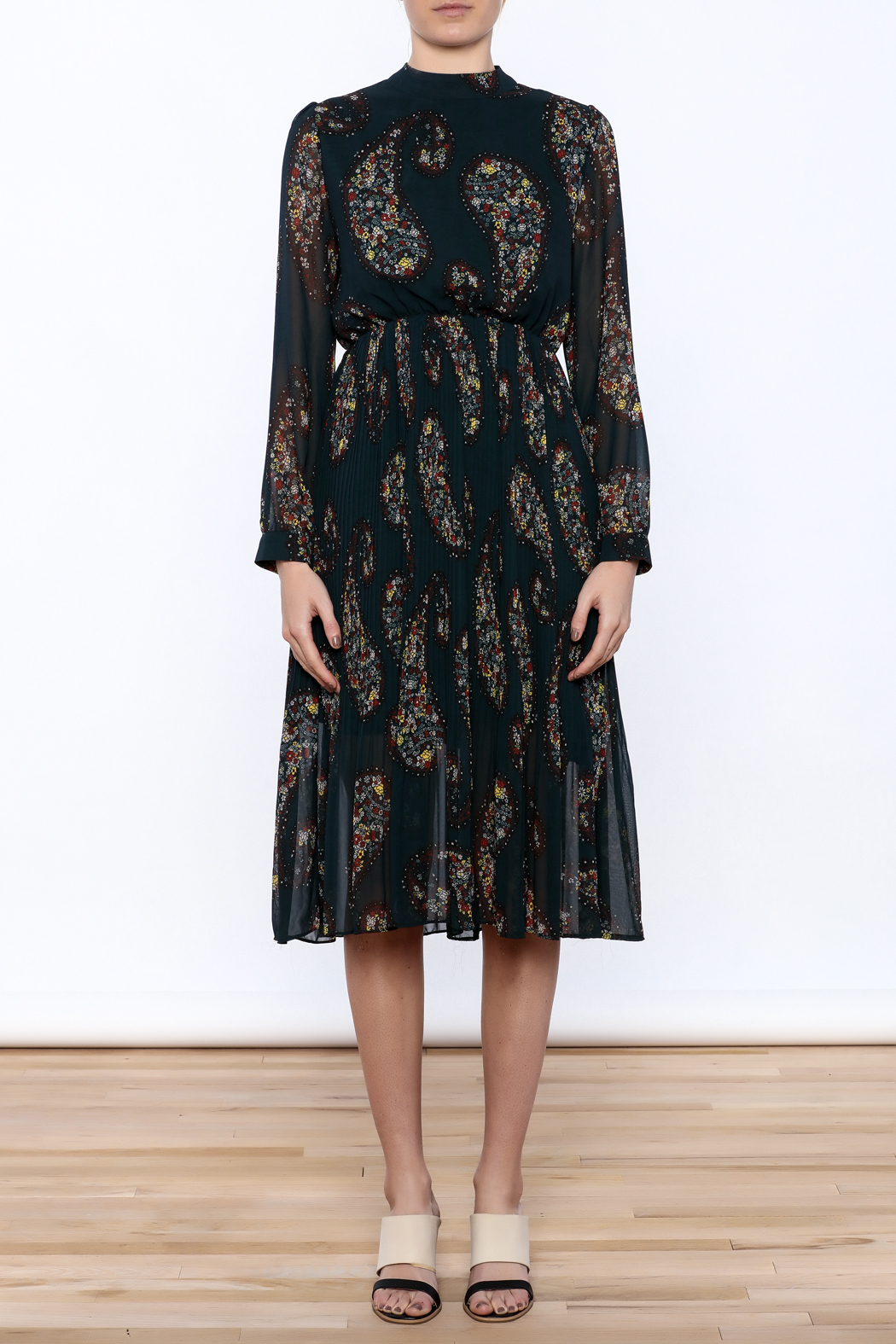 Paisley Print Pleated Dress