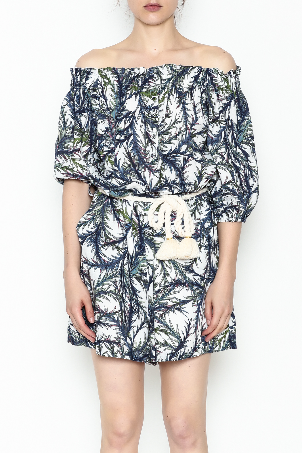 Pinkyotto Palms Button Front Romper - Front Full Image