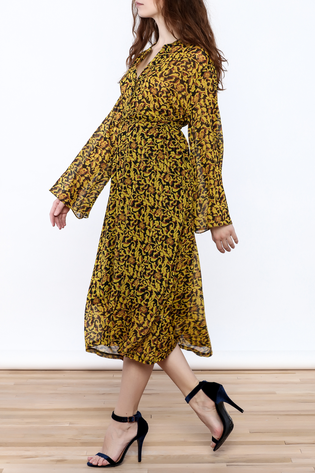 Pinkyotto Parisian Garden Midi Dress - Front Cropped Image