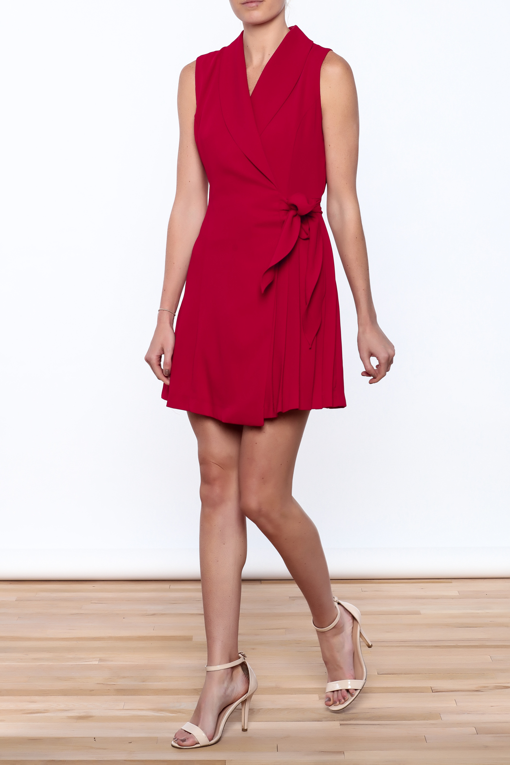 Pinkyotto Pleated Fall Wrap Dress - Front Full Image
