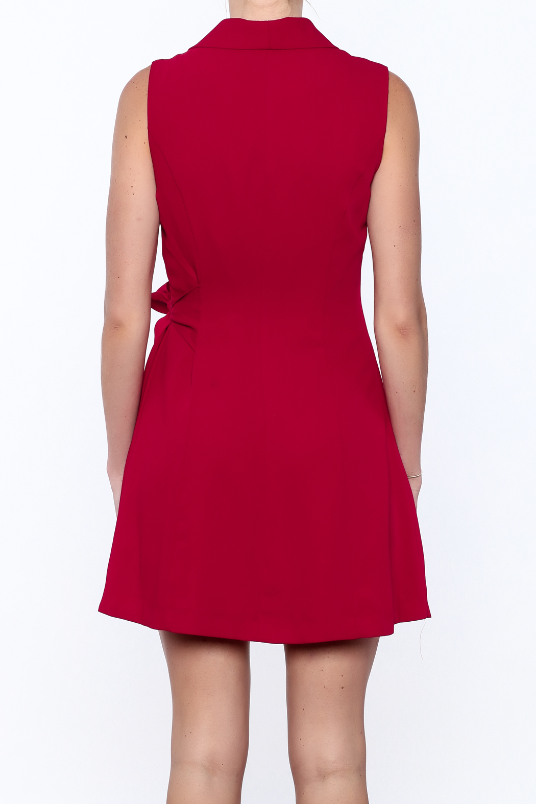 Pinkyotto Pleated Fall Wrap Dress - Back Cropped Image