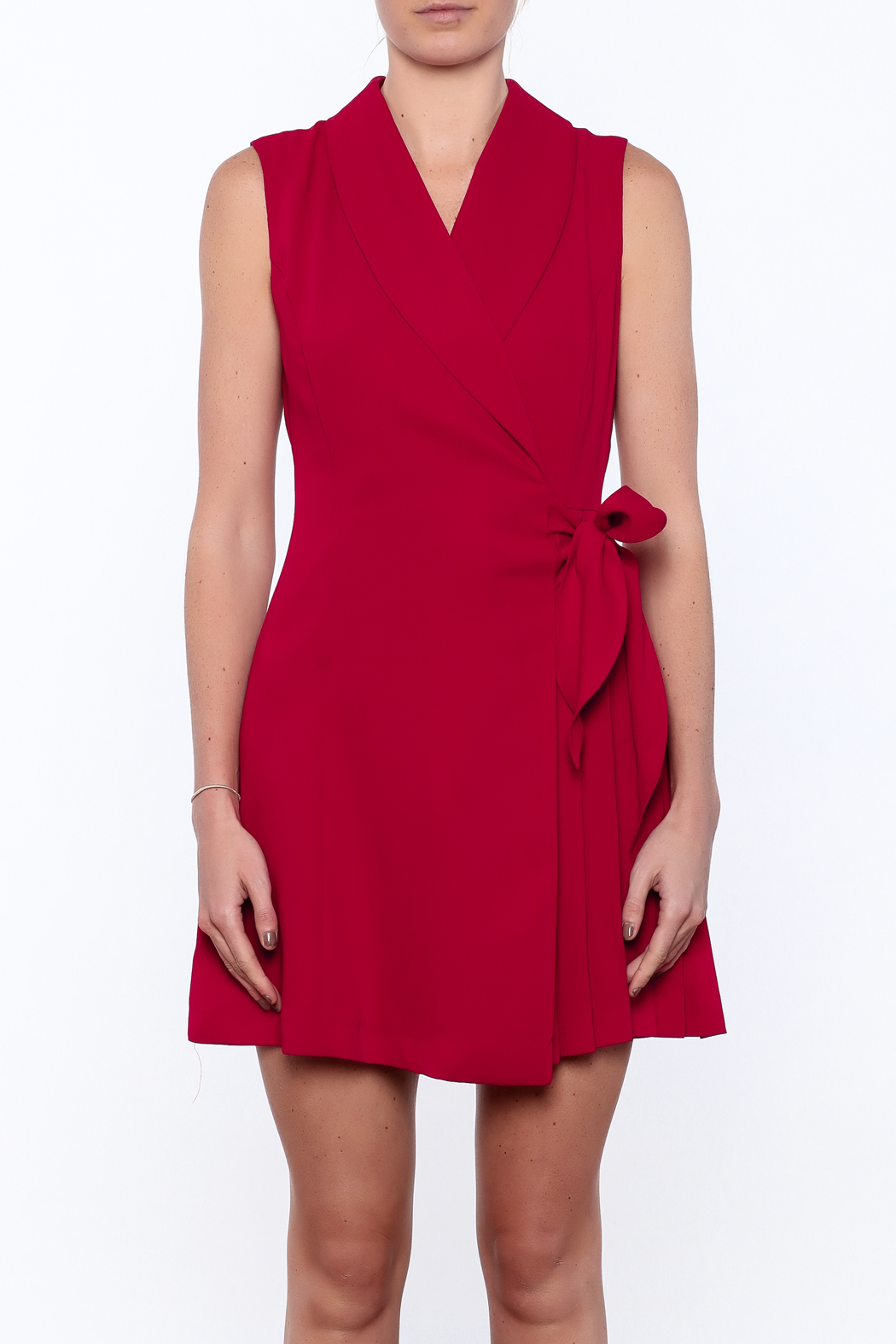 Pinkyotto Pleated Fall Wrap Dress - Side Cropped Image