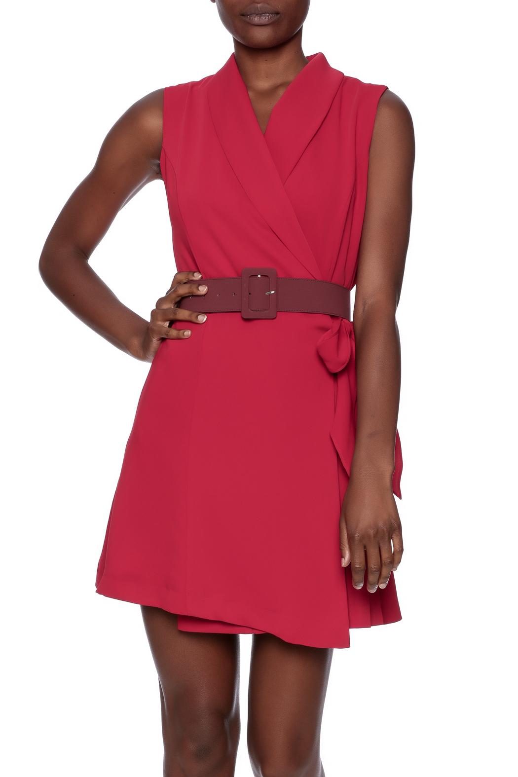 Pinkyotto Pleated Fall Wrap Dress Front Cropped Image