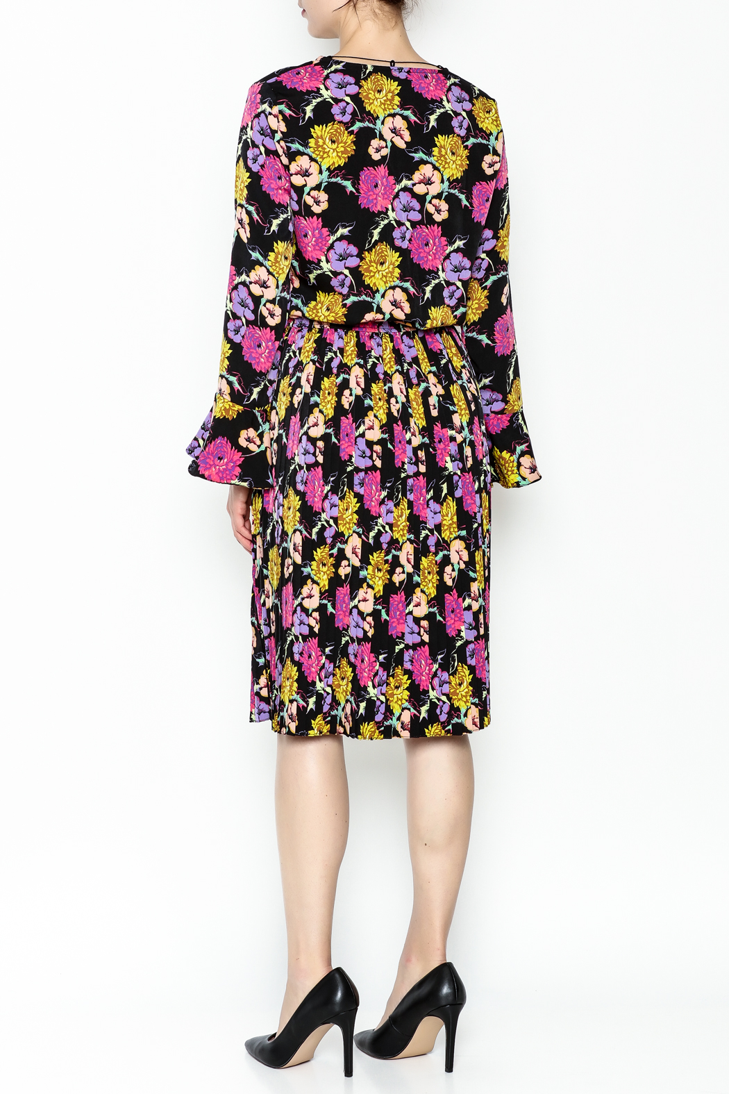 Pinkyotto Pleated Floral Dress - Back Cropped Image