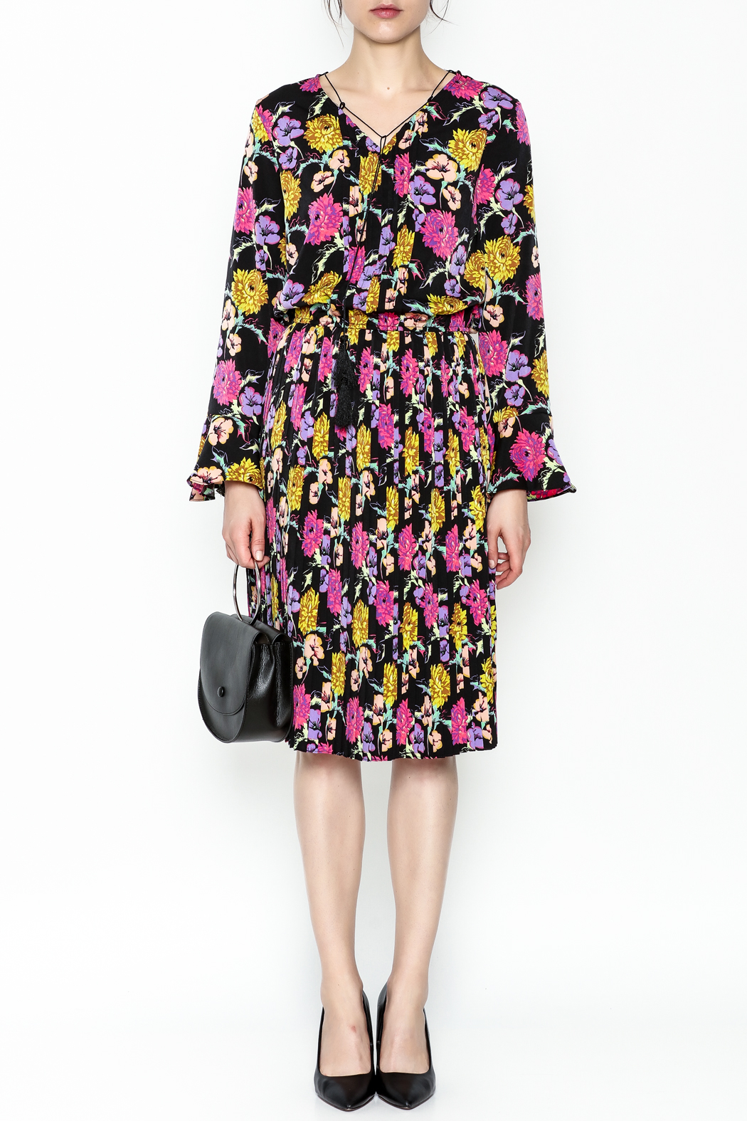 Pinkyotto Pleated Floral Dress - Front Full Image