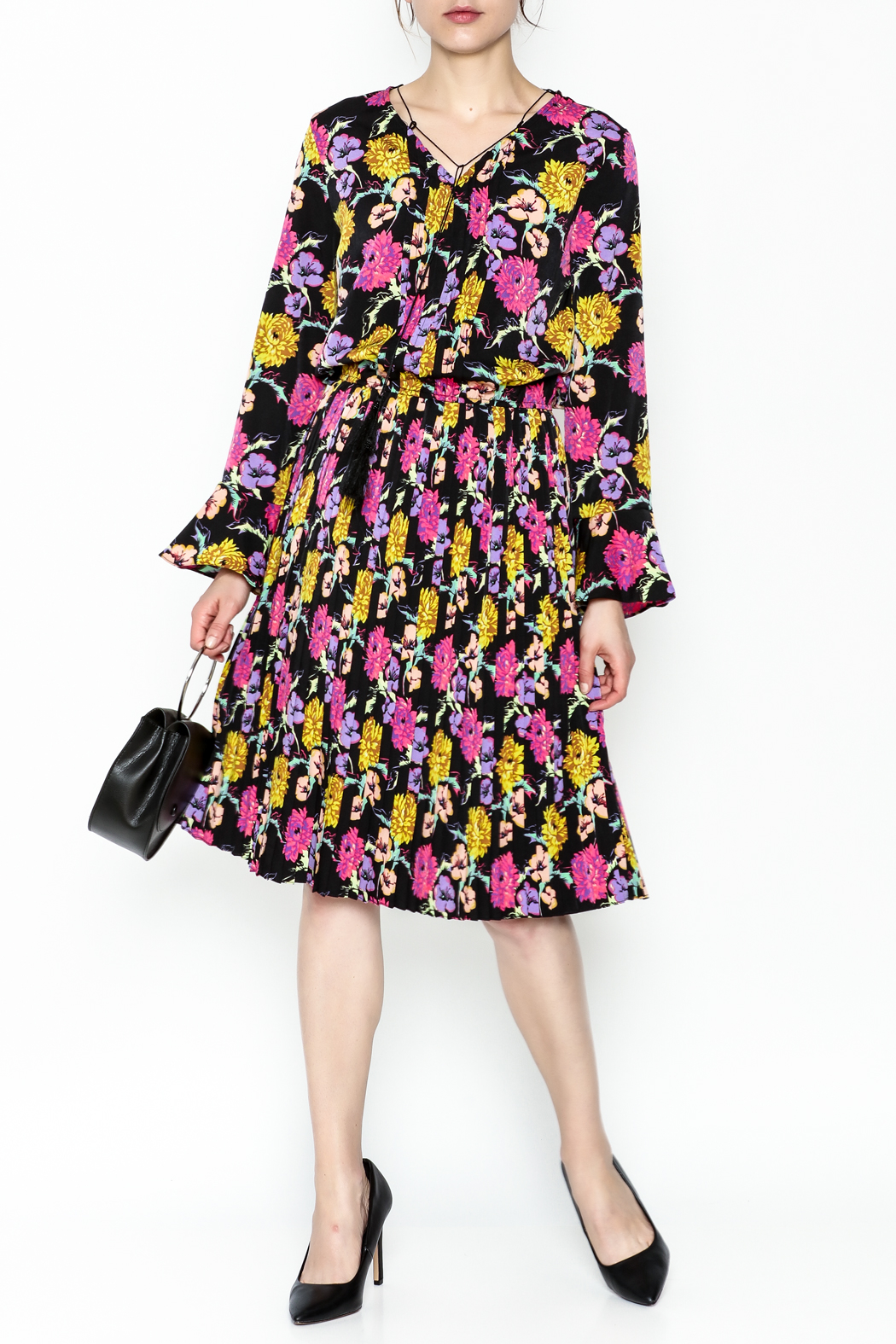 Pinkyotto Pleated Floral Dress - Front Cropped Image