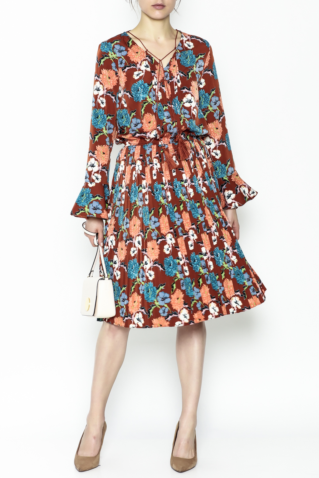 Pinkyotto Pleated Floral Dress - Main Image