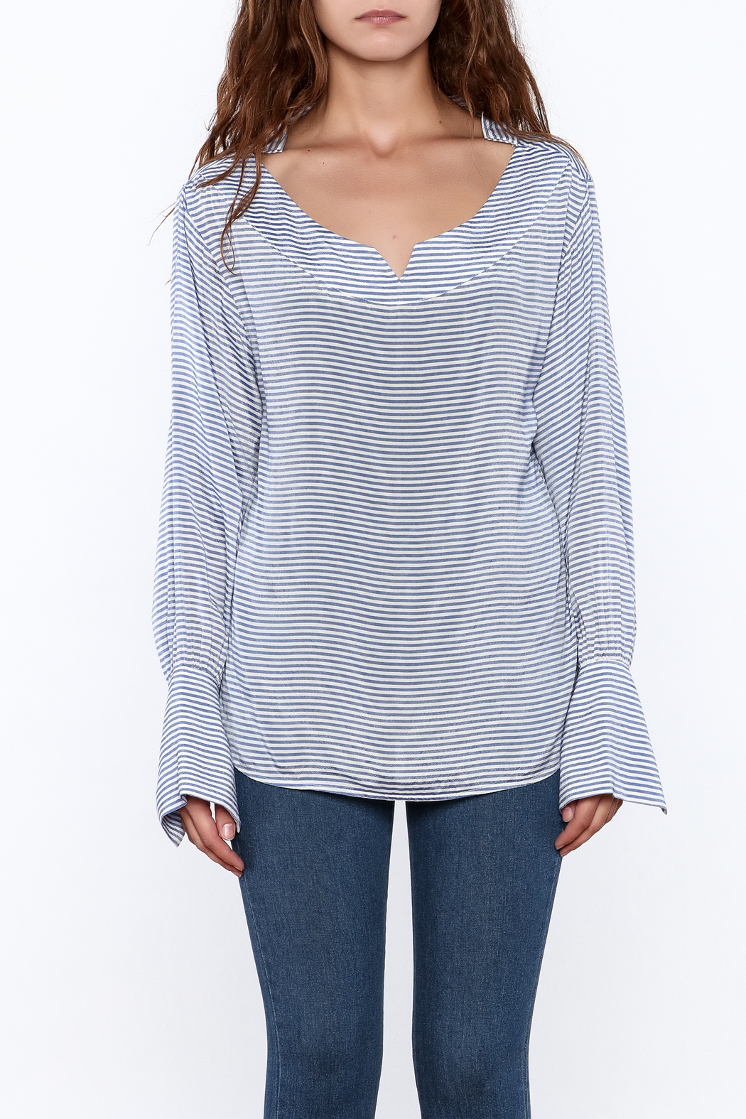 Pinkyotto Preppy Striped Pullover Top - Front Full Image