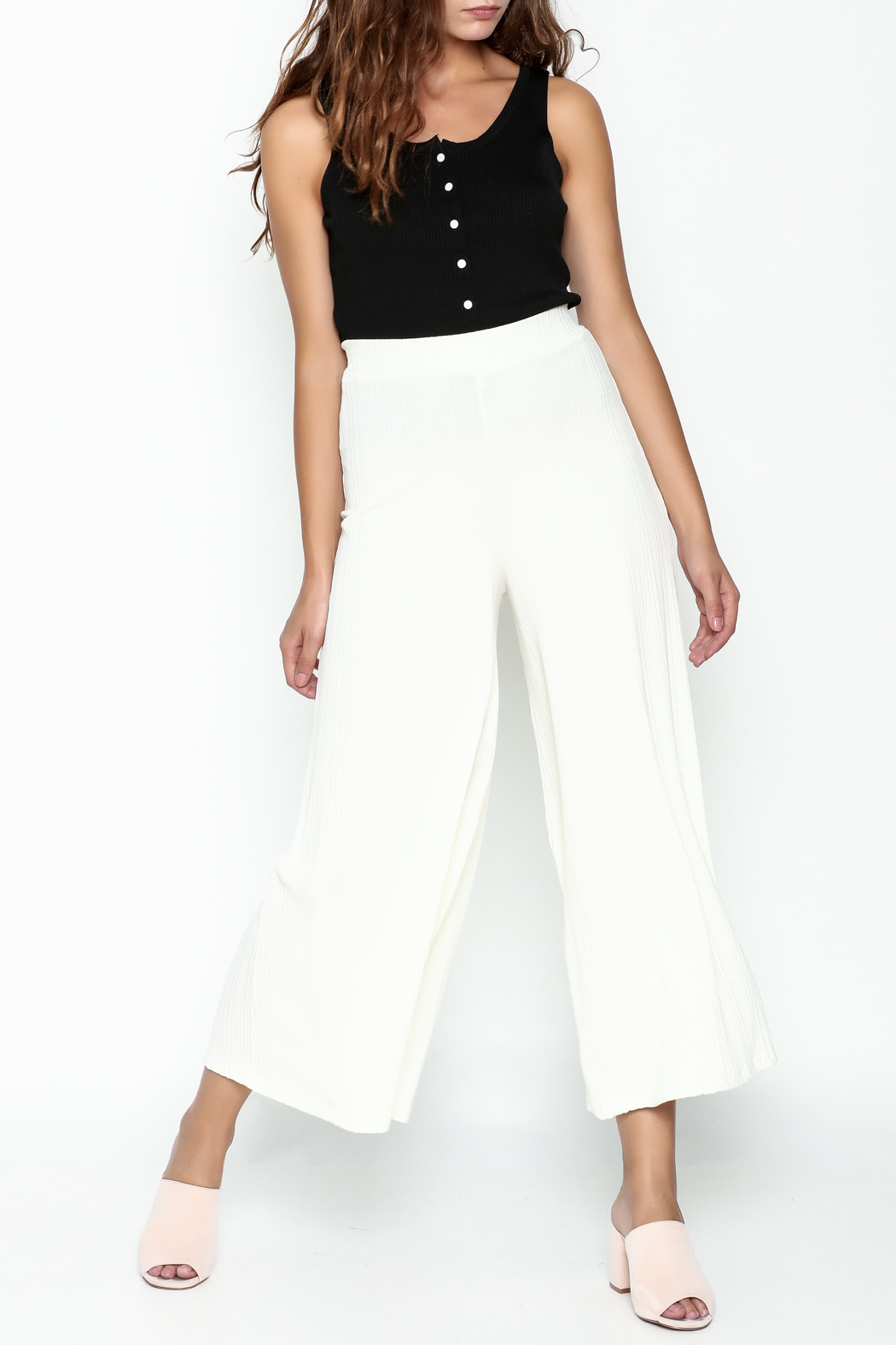 Pinkyotto Ribbed Knit Palazzo Pants - Side Cropped Image