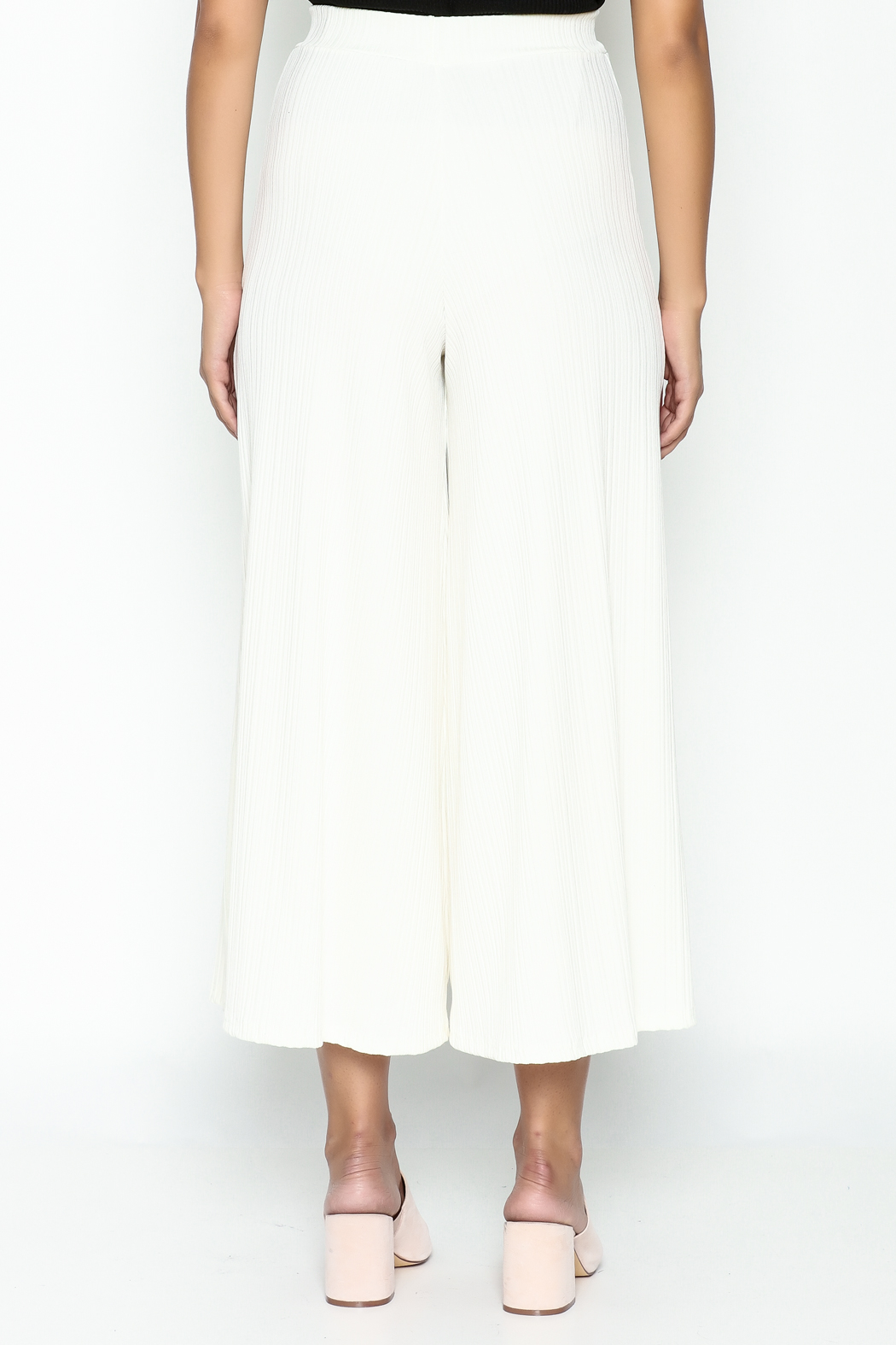Pinkyotto Ribbed Knit Palazzo Pants - Back Cropped Image