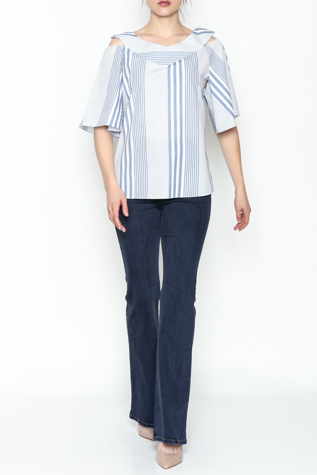 Pinkyotto Striped Ruffle Top - Side Cropped Image