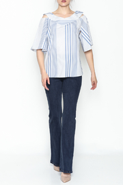 Pinkyotto Striped Ruffle Top - Side cropped