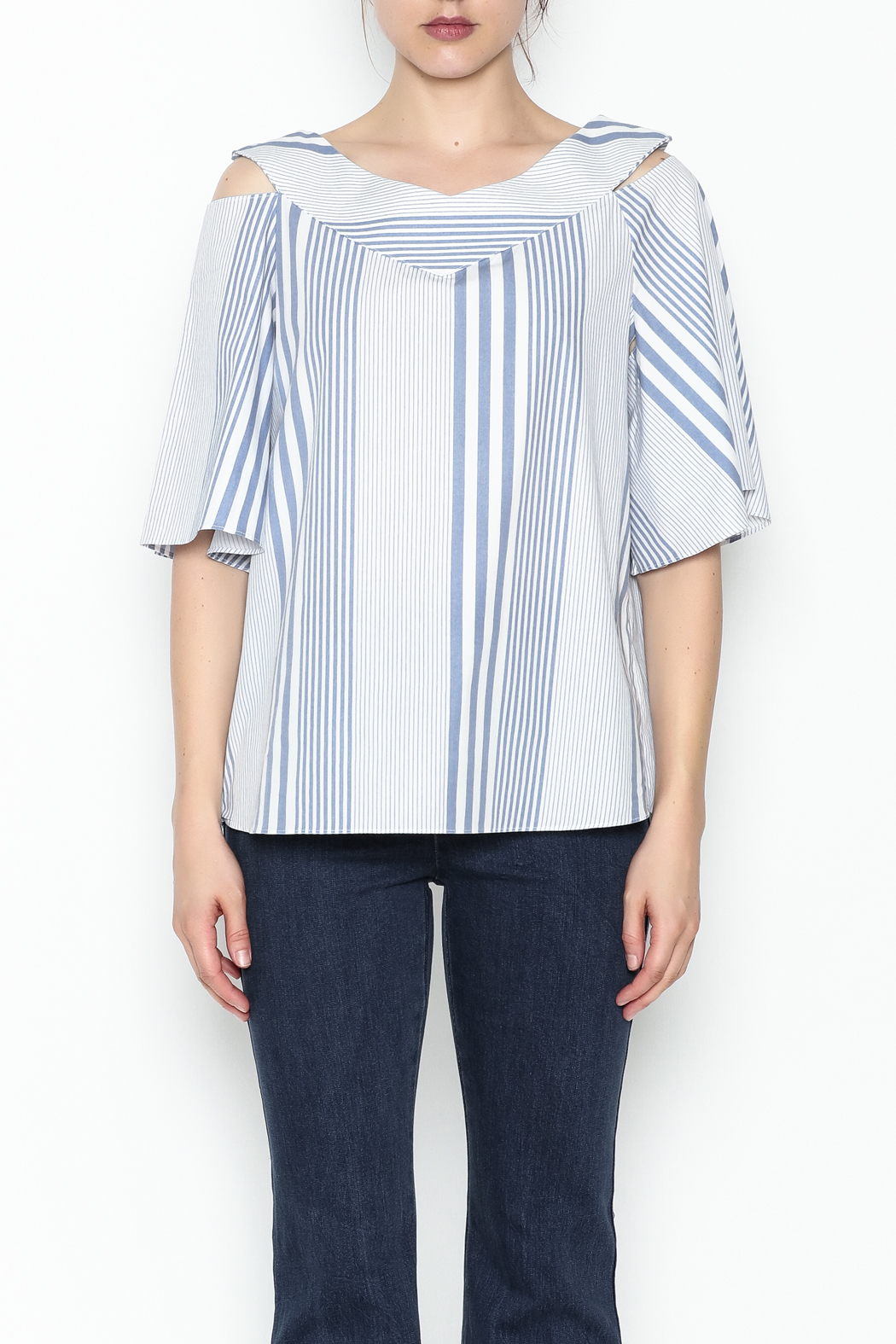 Pinkyotto Striped Ruffle Top - Front Full Image