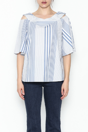 Pinkyotto Striped Ruffle Top - Front full body