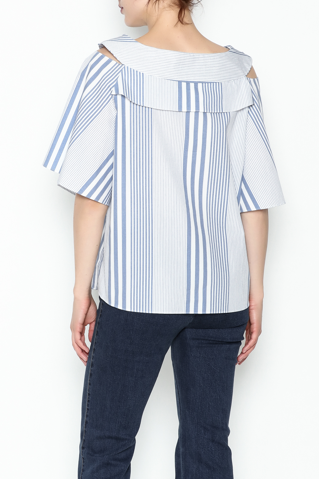 Pinkyotto Striped Ruffle Top - Back Cropped Image