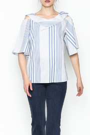 Pinkyotto Striped Ruffle Top - Front cropped
