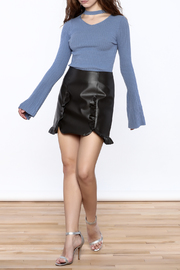 Pinkyotto Black Faux Leather Skirt - Front full body