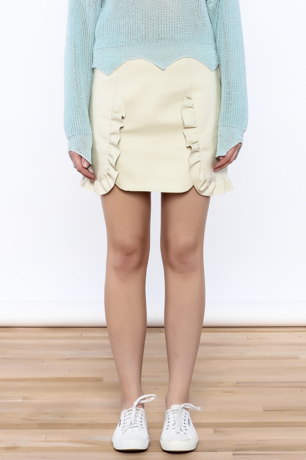Pinkyotto Beige Faux Leather Skirt from Nolita — Shoptiques
