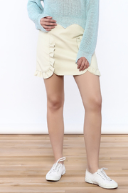 Pinkyotto Beige Faux Leather Skirt - Front cropped
