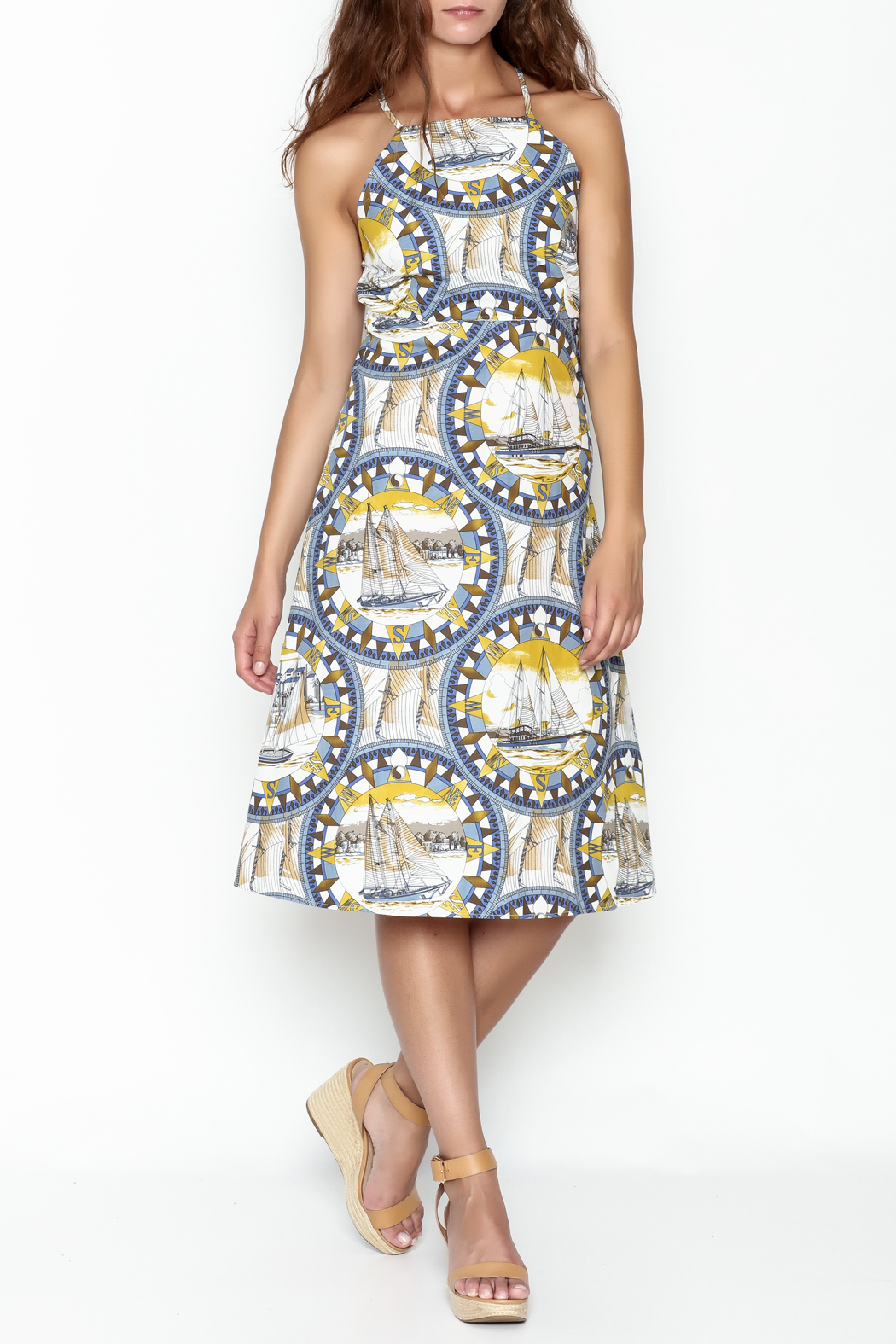 Pinkyotto Sailing Compass Tie Dress - Front Cropped Image