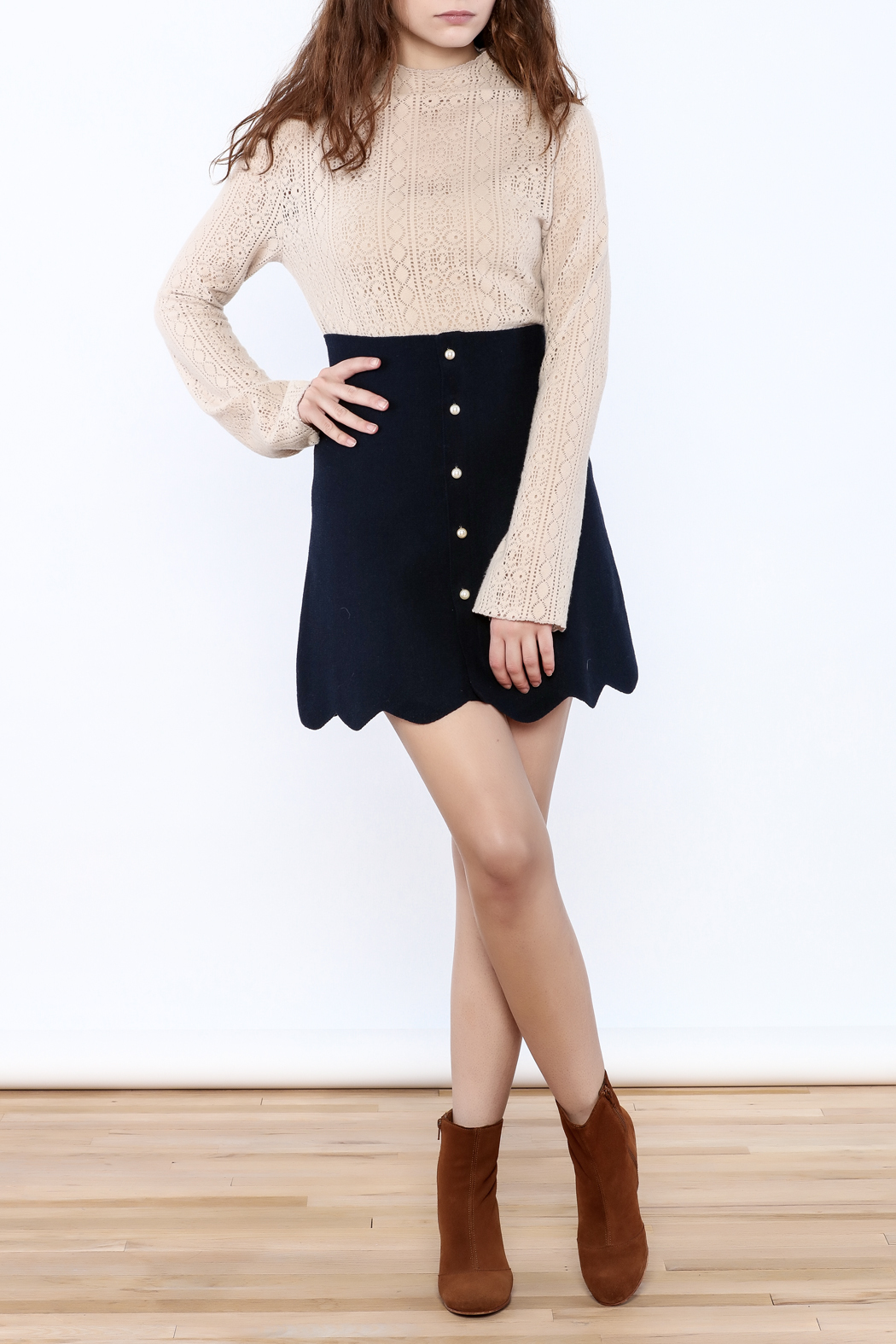 Pinkyotto Scalloped Edge Pearly Skirt - Front Full Image