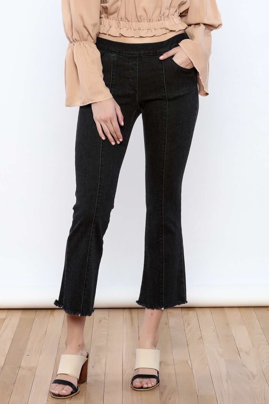 Pinkyotto Seamed Frayed Hem Stretch Pant - Front Cropped Image