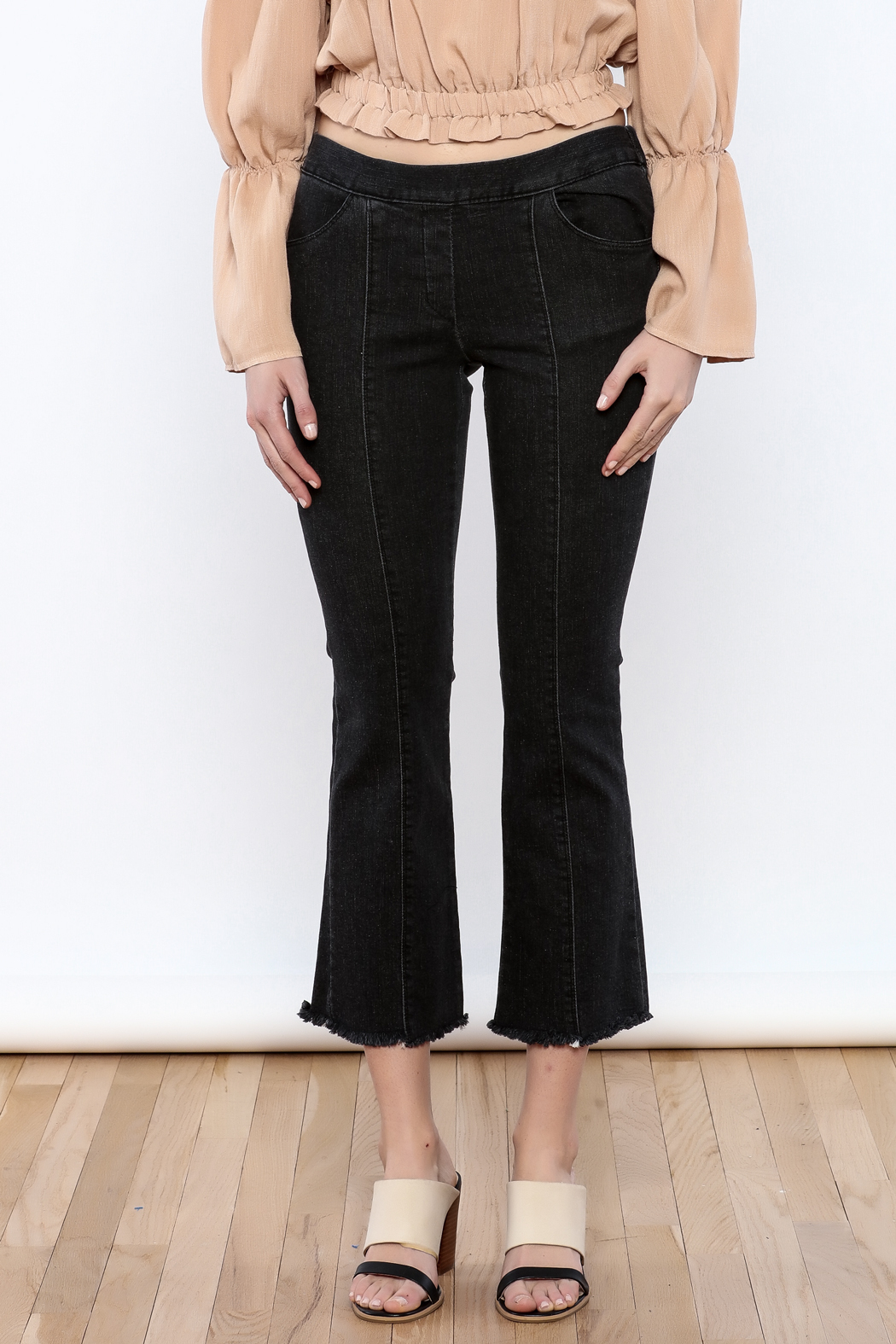 Pinkyotto Seamed Frayed Hem Stretch Pant - Side Cropped Image