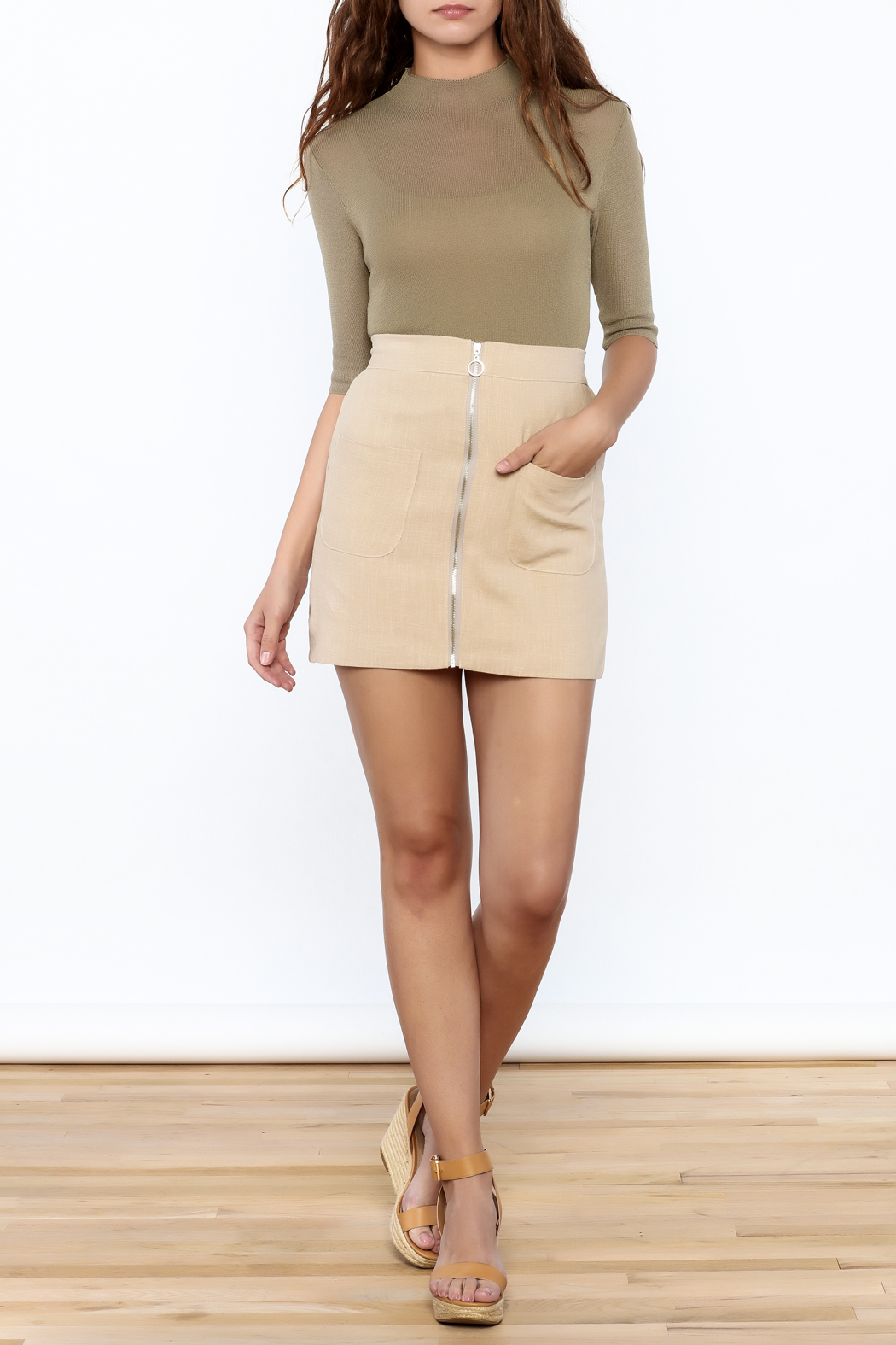 Pinkyotto Olive Fitted Top - Side Cropped Image