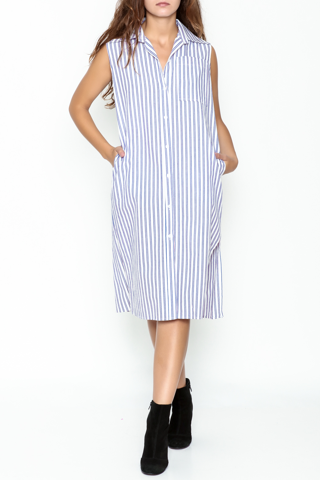 Pinkyotto Striped Boyfriend Shirt Dress - Main Image