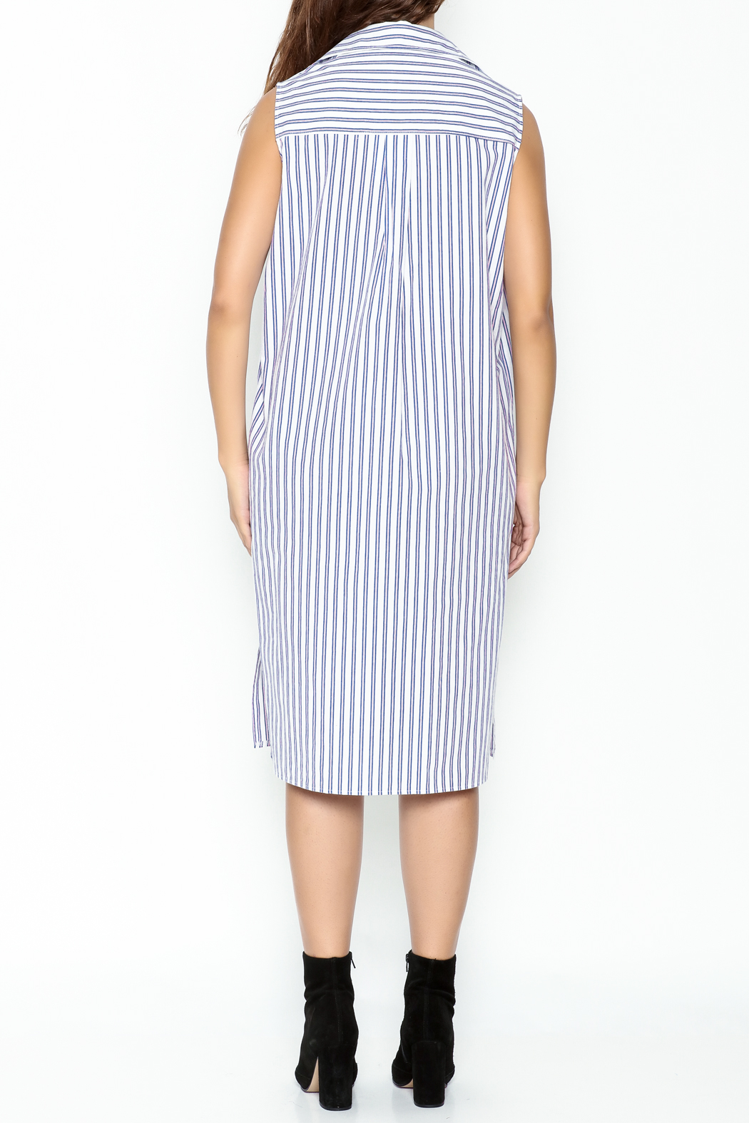 Pinkyotto Striped Boyfriend Shirt Dress - Back Cropped Image