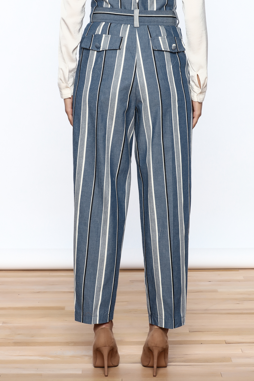 Pinkyotto Striped Wide Leg Pants - Back Cropped Image