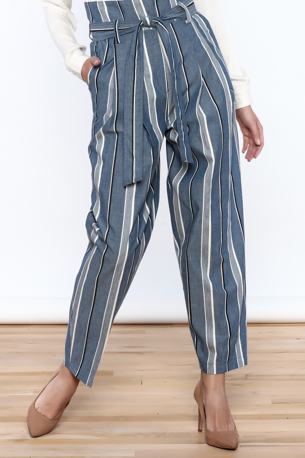 Pinkyotto Striped Wide Leg Pants - Front Cropped Image