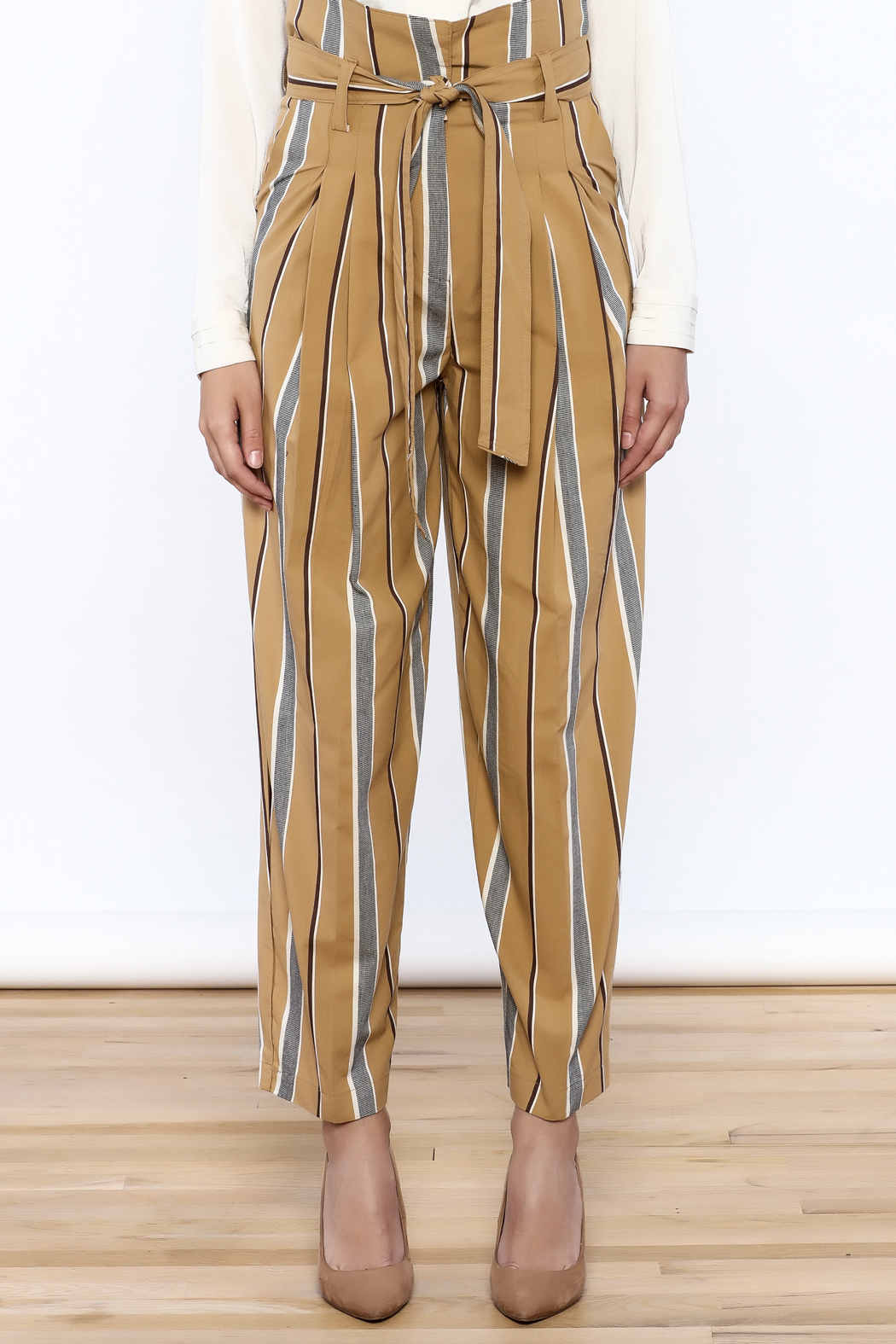 Pinkyotto Striped Wide Leg Pants - Front Full Image