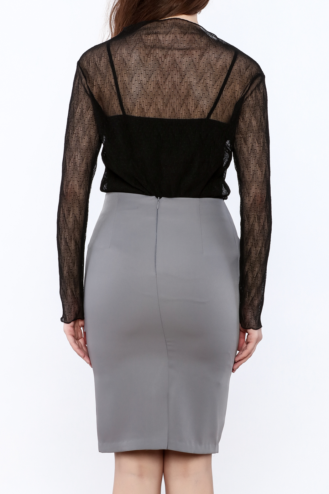 Pinkyotto Black Sheer Top - Back Cropped Image