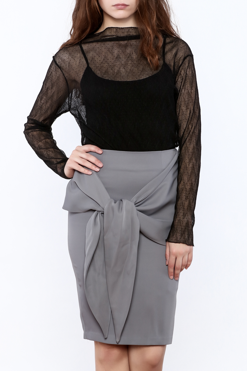Pinkyotto Black Sheer Top - Front Cropped Image