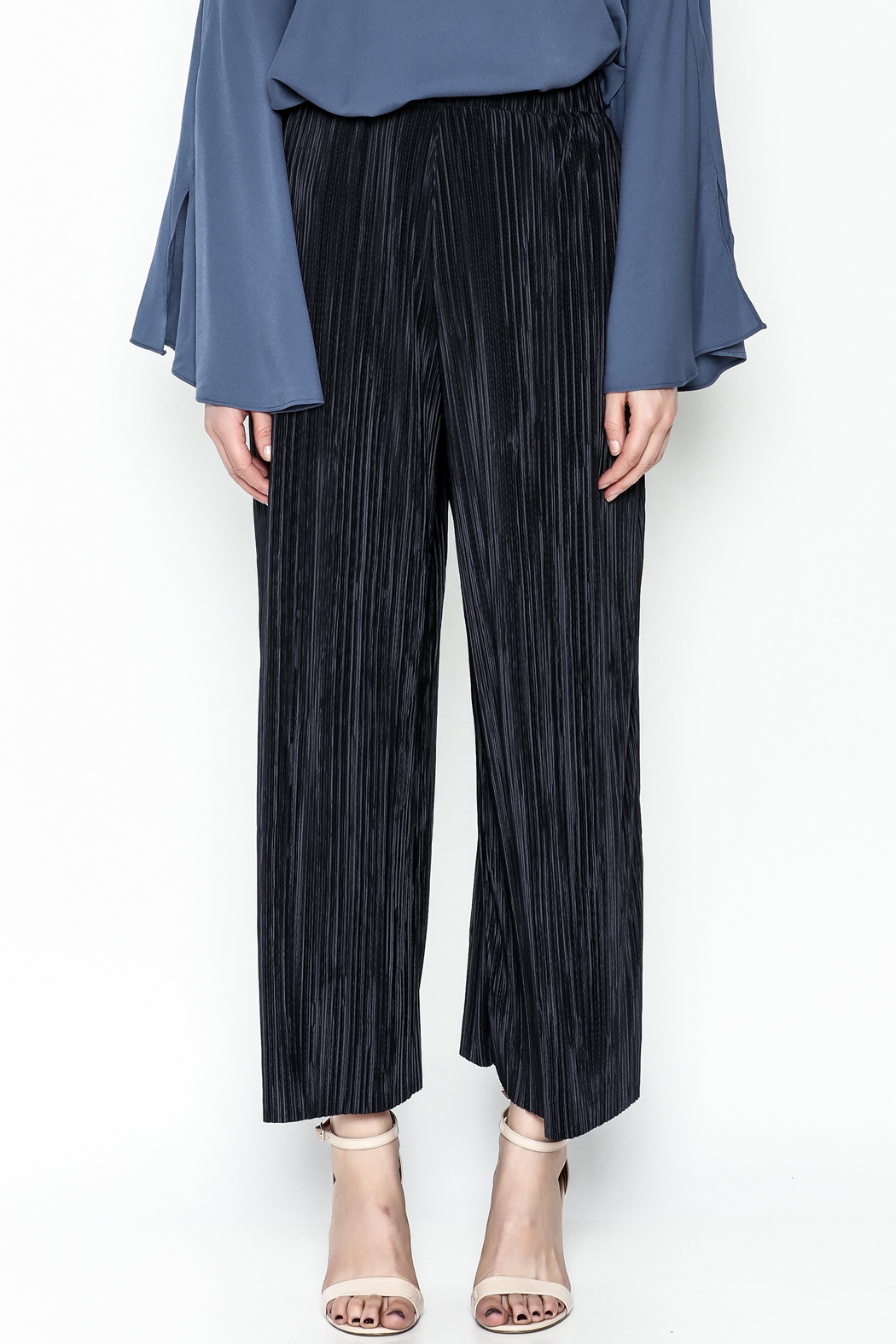 Pinkyotto Textured Wide Leg Pants - Front Full Image