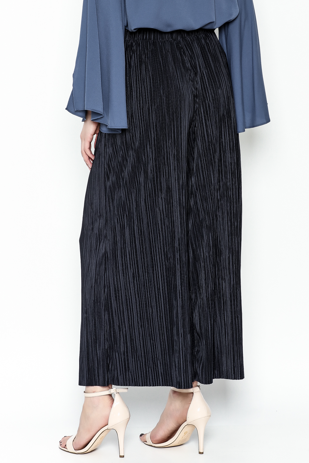 Pinkyotto Textured Wide Leg Pants - Back Cropped Image