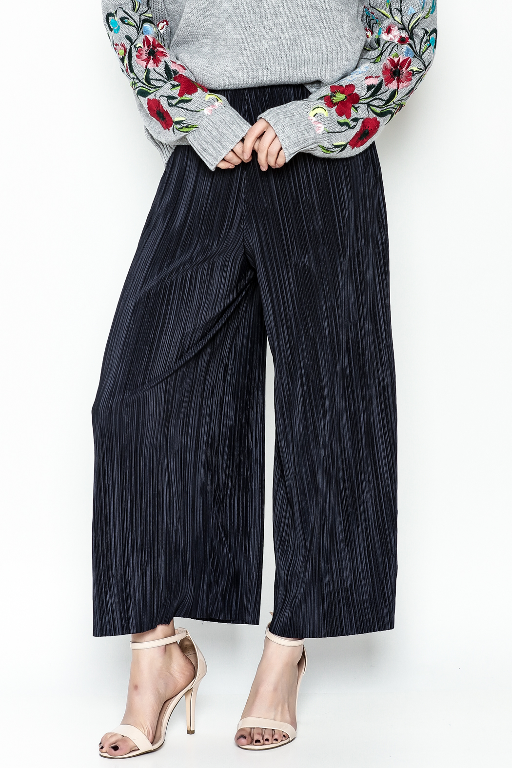 Pinkyotto Textured Wide Leg Pants - Front Cropped Image