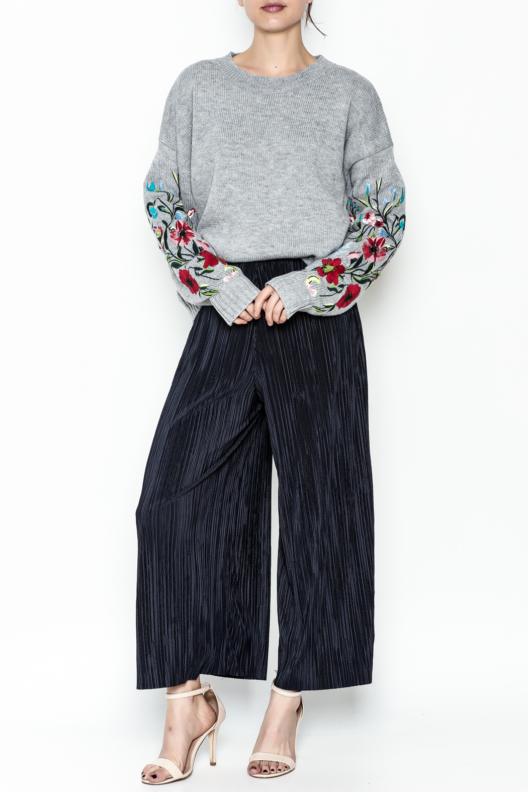 Pinkyotto Textured Wide Leg Pants - Side Cropped Image