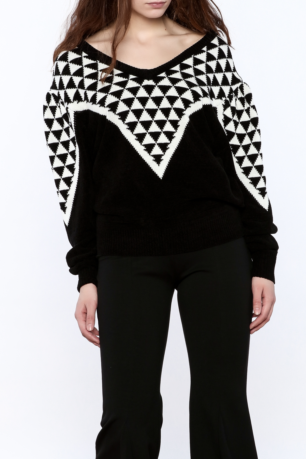 Pinkyotto Geo Print Sweater - Front Cropped Image