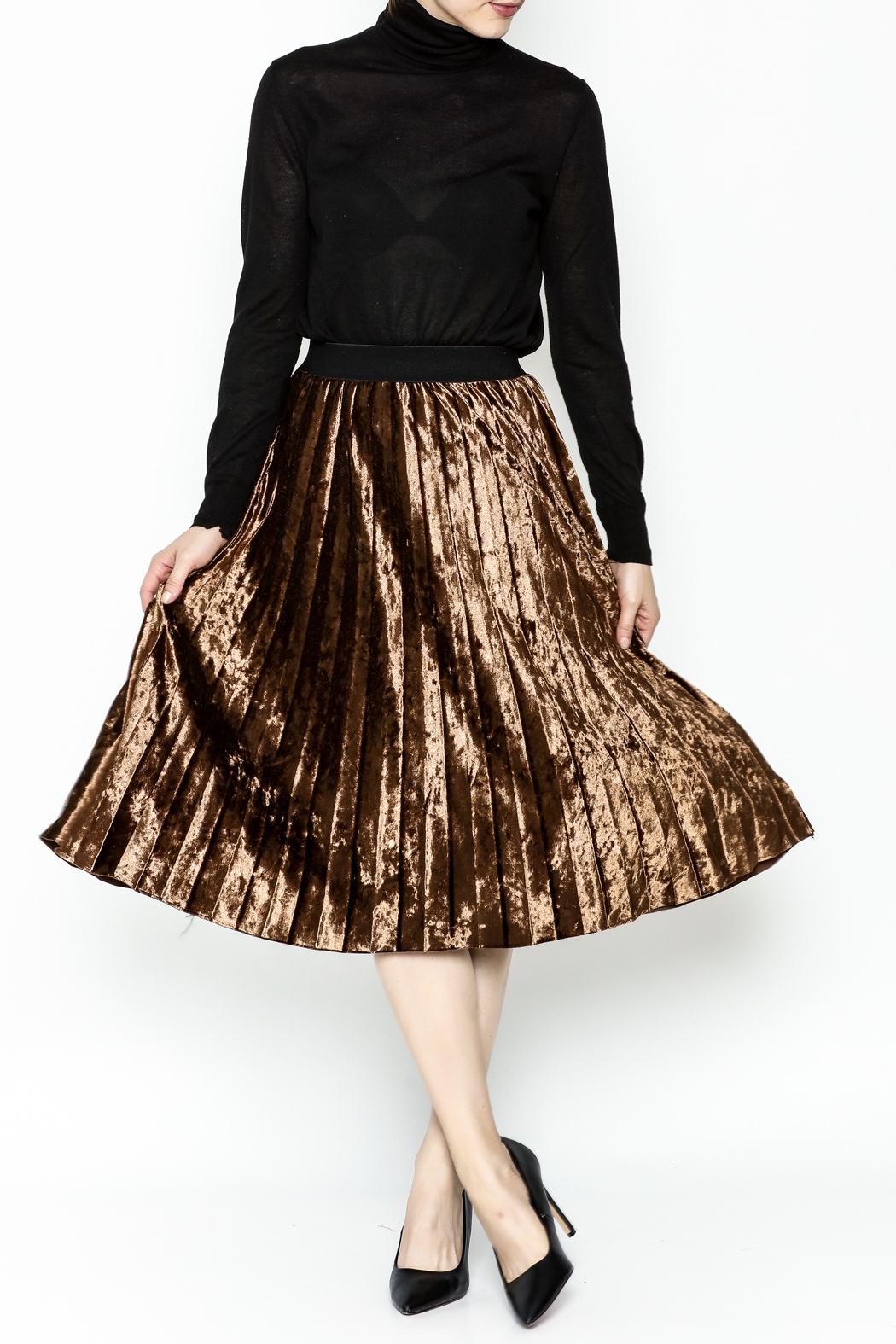 Pinkyotto Velvety Pleats Midi Skirt - Side Cropped Image