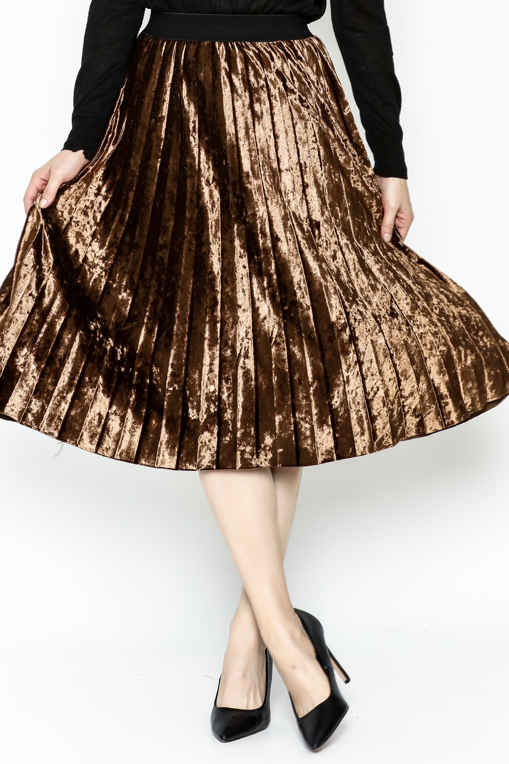 Pinkyotto Velvety Pleats Midi Skirt - Front Cropped Image