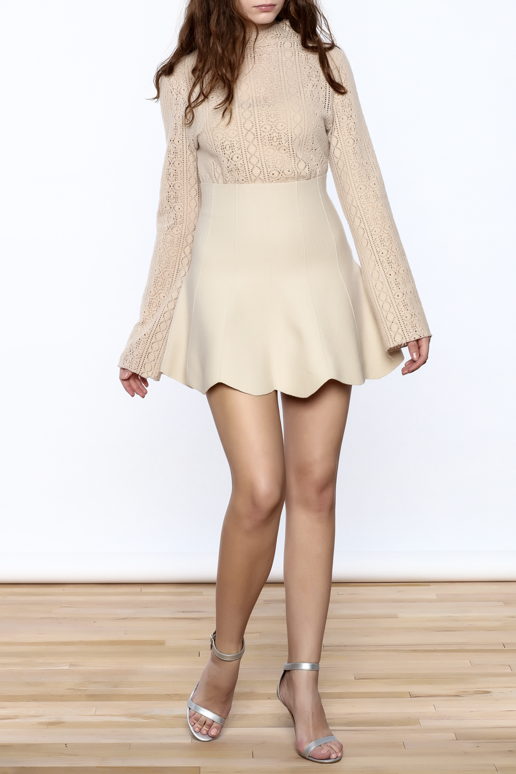 Pinkyotto Vintage Lace High Collar Top - Front Full Image