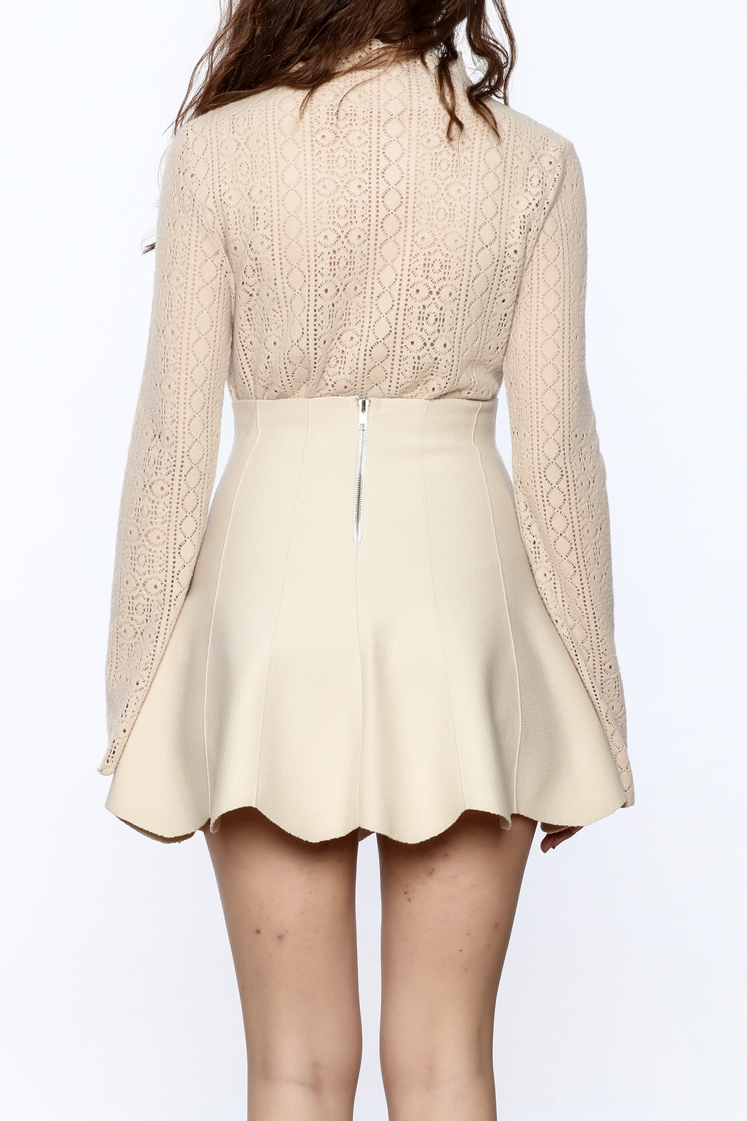 Pinkyotto Vintage Lace High Collar Top - Back Cropped Image
