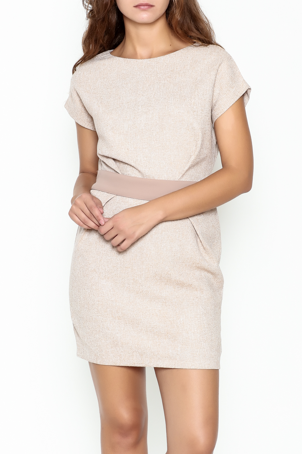 Pinkyotto Waist Pleated Dress - Front Cropped Image